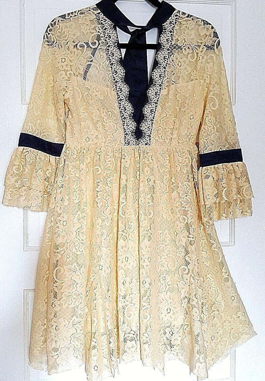 NEW Free People Ivory Beige Cream Gilded Lace Mini dress XS 2 w tag