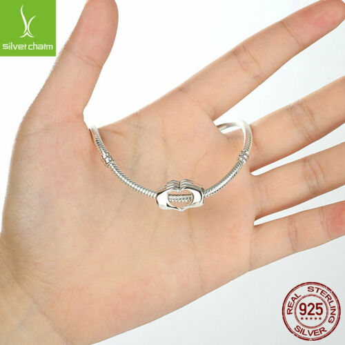 925 Sterling Silver Closed Love Hand Hearts Beads fit Bracelets DIY Accessories
