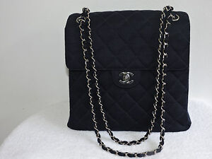 7e3c8c320cb9 CHANEL RARE! AUTH TALL NAVY VTG QUILTED TWO SIDE FLAP CHAIN FABRIC ...