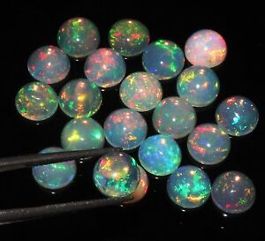 Natural-Ethiopian-Welo-Fire-Opal-Calibrated-Round-Cabochons-RAINBOW-FLASH-Lots