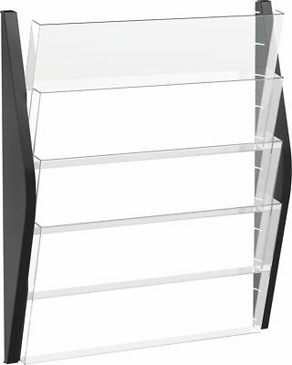 helit Wand Prospekthalter DIN A4 hoch 4 Fächer schwarz