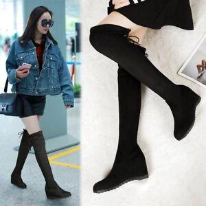 ba094b40121b Fashion Women Flat Bottom Shoes Over The Knee Thigh High Suede Long ...