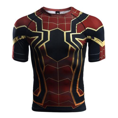Raglan Sleeve Spiderman 3D Printed T shirts Men Compression Shirts 2018 Summer