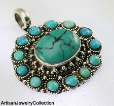 TURQUOISE PENDANT 925 STERLING SILVER ARTISAN JEWELRY COLLECTION MD1B118