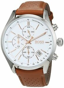 Details About Hugo Boss Original 1513475 Men S Grand Prix Brown Leather Watch 44 Mm