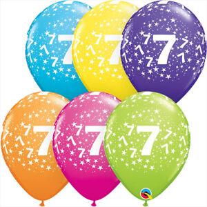 7th-BIRTHDAY-BALLOONS-10-x-11-034-QUALATEX-STARS-A-ROUND-TROPICAL-LATEX-ASSORTMENT