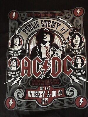 AC//DC Men/'s  Public Enemy #1 T-Shirt Black Adult L Whiskey A Go Go Malcom Young