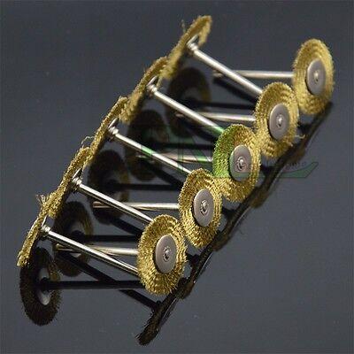 10PC 1Inch Brass Wire Brush Wheel Bit Fits Dremel Rotary Tool Accessory