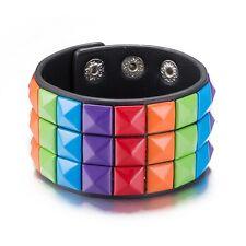 Unisex Gay Rainbow 3 Row Pyramid Studded Leather Wristband Bracelet
