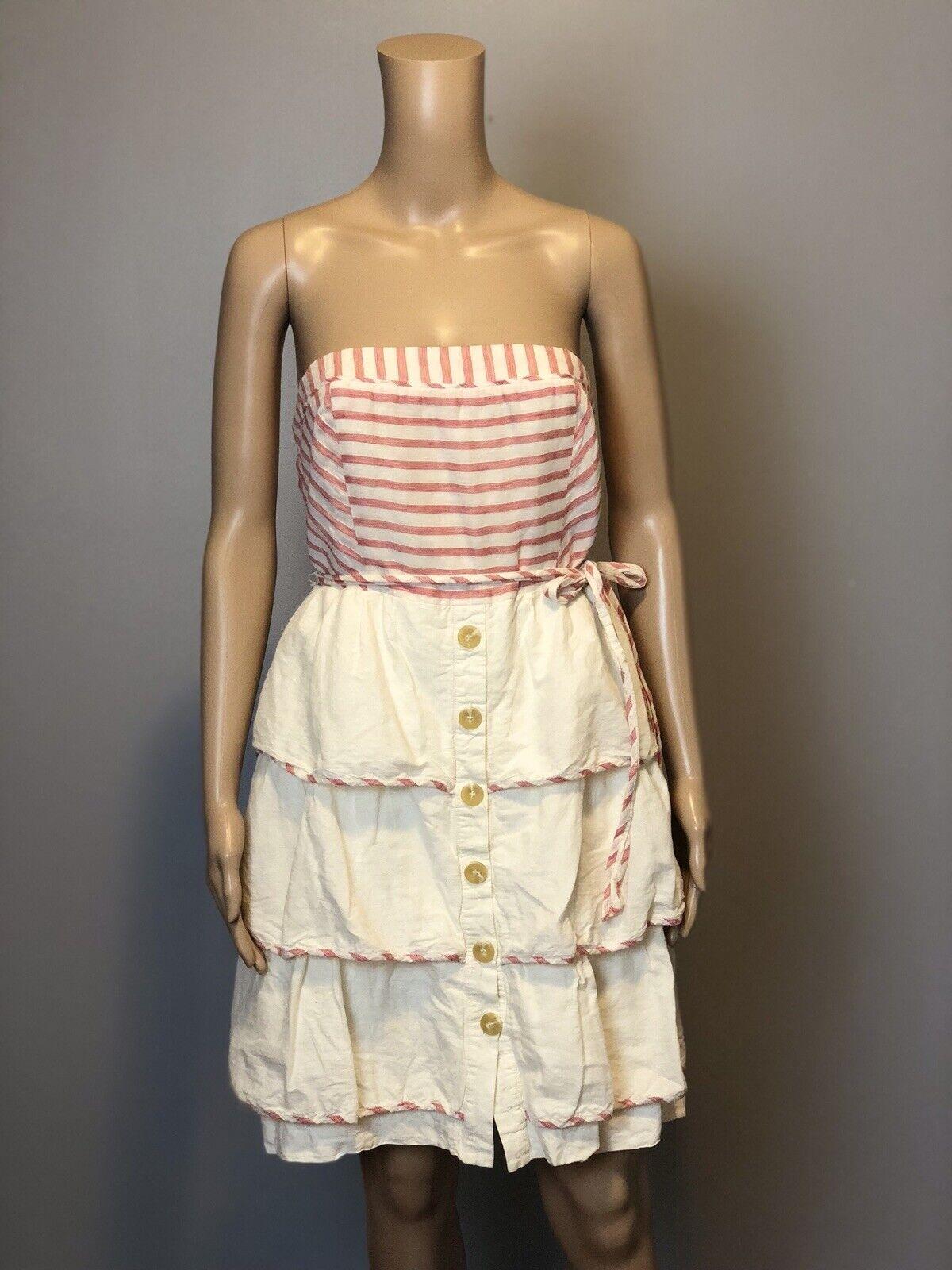 Maeve Anthropologie Strapless Red Stripe Linen Tier Ruffle Dress SZ 8