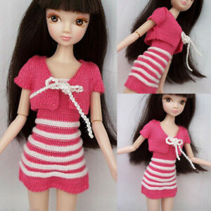 Pink-Stripe-Short-Mini-Dress-Sweater-Coat-Dresses-Outfit-Costume-For-Barbie-Doll