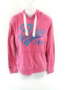 SUPERDRY-Womens-Hoodie-Jumper-M-Medium-Pink-Cotton-amp-Polyester