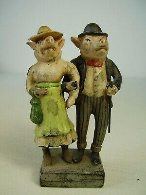 Antike Seltene Wiener Bronze Schweine Paar Mann & Frau