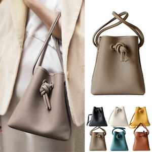 Small-Mini-Real-Leather-Oversize-Knotted-Bucket-Bag-Shoulder-Bag-Crossbody-Purse