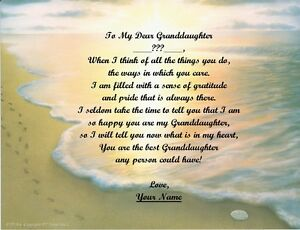 Image Is Loading Christmas Gift Birthday For Granddaughter Personalized Poem