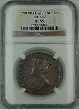 1703 Vigo England 1/2C Half Crown Silver Coin ESC-569 Anne NGC AU-55 AKR