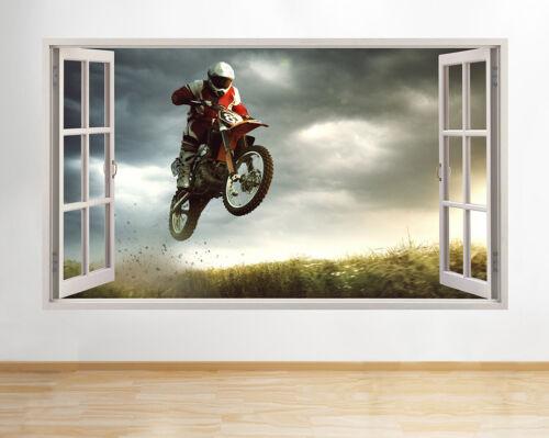 Moto cool garçons chambre staunt fenêtre vue vitre applique murale 3D art stickers