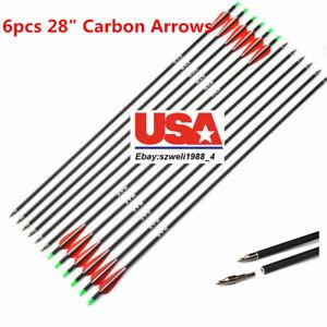 US-Carbon-Arrow-6pcs-Spine-500-28inch-7-8mm-Archery-For-Compound-amp-Recurve-Bow