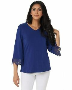 Denim-amp-Co-Womens-V-Neck-3-4-Bell-Sleeve-Top-Medium-Lace-Bright-Navy-A305169
