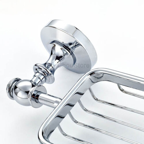 EURO Bathroom Wall Chrome Brass Bath Shower Soap Holder Dish Wire Basket NEW