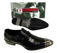 Men's Fiesso Black Pointed Metal Toe Slip On Shoes With Spikes Fi 6825