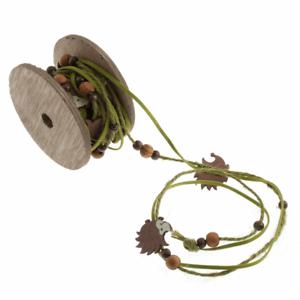 HEDGEHOG RIBBON craft twine with wooden animals /& beads EDGING TRIM NEW WOODLAND