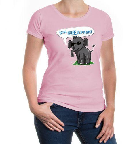 Damen Kurzarm Girlie T-Shirt Total IrrElephant Elefant Funshirt Sonnnenbrille