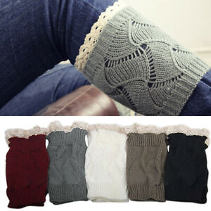 Sn-Durable-Femme-Tricot-Hiver-Dentelle-Bord-Coffre-Toppers-Poignets-Jambieres