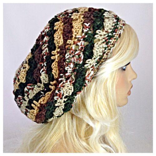 Handmade Womens SLOUCHY Beanie Tam Hat Rasta EXTRA BAGGIE Soft BROWN Tan GREEN