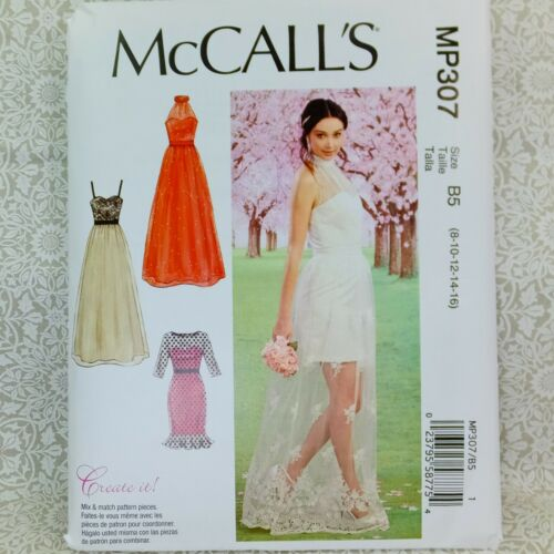 McCall/'s MP307 Sewing Pattern Layered Formal Dress Bridal Prom Gown 4 looks 8-16