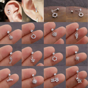 Labrets Lip Barbell Bar Ear Studs Star Shape Cartilage Helix Tragus Earrings