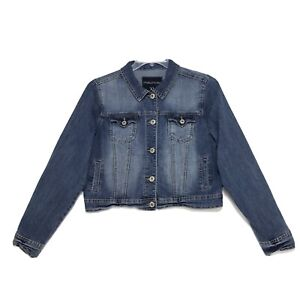 Maurice's Stretch Denim Crop Jean Jacket Womens Size XL Blue Button Front