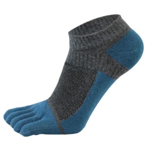 Men Short Socks Splicing Mesh Five Finger Toe Cotton Soft Low-cut Ankle Socks