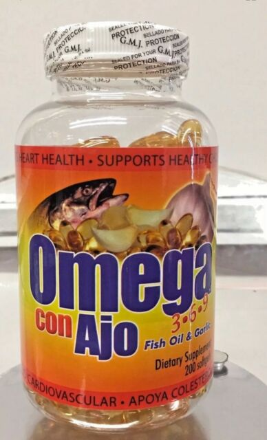 New Seal Omega 3 6 9 Capsules Con Ajo Fish Oil And Garlic 200