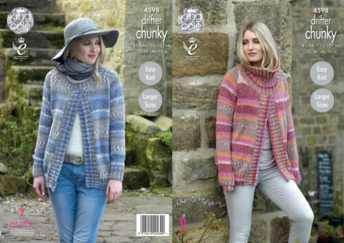 King cole femmes chunky knitting pattern rond ou col polo pull gilet 4598