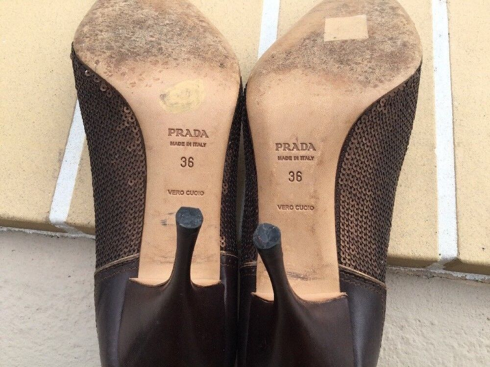 PRADA POINTY BRONZE braun SEQUIN & LEATHER POINTY PRADA TOE CLASSIC PUMPS Sz 36 MADE IN ITALY 7f1a67