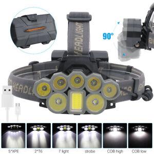 USB-Rechargeable-8X-XM-L-T6-COB-LED-Hunting-Headlamp-18650-Head-Torch-Light-Lamp