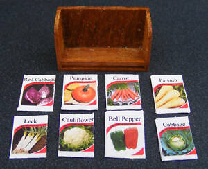 1-12-Scale-8-Empty-Vegetable-Seed-Packets-In-A-Wood-Holder-Dolls-House-Garden-D