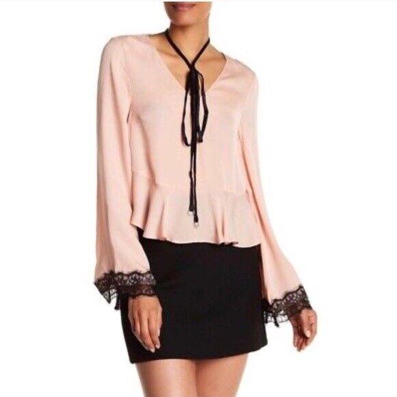Cinq A Sept damen V Neck Long Sleeve Silk Lace Trim Blouse Rosa Größe L