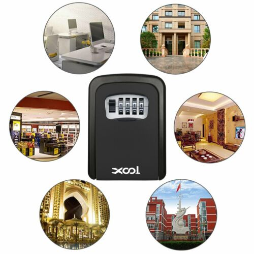 BLK Home Outdoor 4-Digit Combination Key Lock Storage Travel Safe Security Box