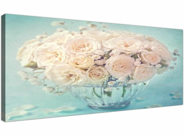 1280 Duck Egg Blue Pink Shabby Chic Blossom Floral Canvas Modern 120cm Wide