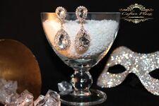 Brautschmuck, Hochzeit Ohrringe,Ohrhänger, L , Gold / Kristall Klar Luxury