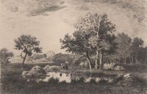 Narcisse-Diaz-Chenes-et-mare-chemin-de-Bellecroix-Eau-Forte-Gaucherel-XIXe