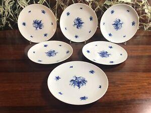 Rosenthal-Romance-Blue-Flower-6-Classy-Cake-Plate-Dessert-Plates-19-5cm
