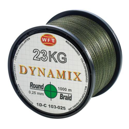 0,05€//m WFT Round Dynamix grün rund geflochtene Angelschnur 1000m Braid Geflec