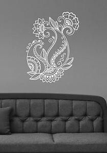 Henna paisley flower wall sticker floral pattern vinyl decal image is loading henna paisley flower wall sticker floral pattern vinyl mightylinksfo