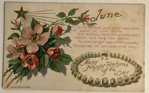 JUNE-Birthday-Month-Gems-Flowers-Antique-Greeting-Postcard-unused-c-198