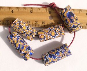 Antique-Giant-Cobalt-Blue-amp-Yellow-Millefiori-African-Trade-Beads-Venetian-Glass