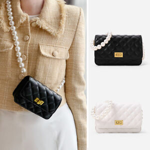 Mini/ Small Quilted Faux Leather Pearl Chain Strap Wallet Shoulder bag Crossbody