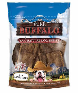 Loving Pets Pure Buffalo Lung Steaks Dog Treat, 4 -Ounce